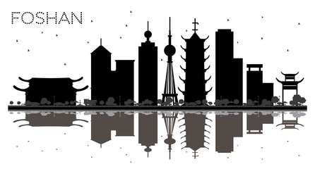 Foshan China City skyline black and white silhouette with Reflections.