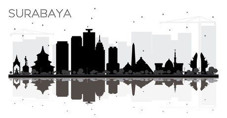 Surabaya Indonesia City skyline black and white silhouette with Reflections.