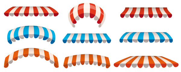 A set of striped red, blue, orange white awnings, canopies for the store. Awning for the cafes and street restaurants. Vector illustration isolated on white background. Isolated