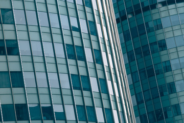 Close-Up of Modern Office Buildings in city of China.