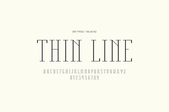 Serif font in thin line style