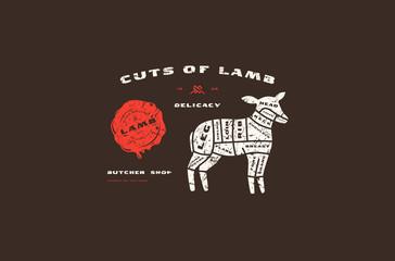 Stock vector lamb cuts diagram in flat style