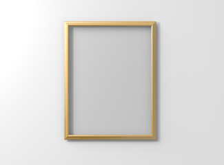 Isolated matte gold photo frame