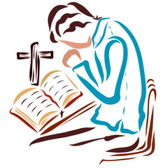A man reading the Bible and praying to God