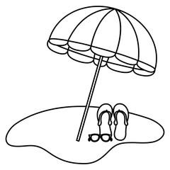 umbrella beach with sandals