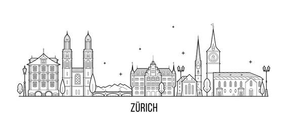 Fototapete - Zurich skyline Switzerland city buildings vector