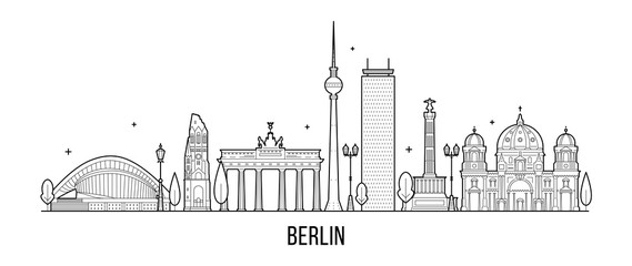 Wall Mural - Berlin skyline Germanym vector city vector