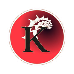 letter K circular label with fractal spiral tail pattern in red