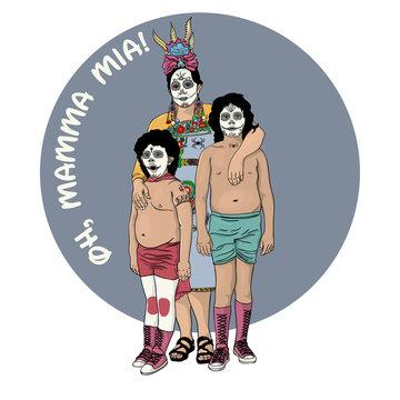 Mamma Mia Poster. Vector illustration of a happy family celebrating Halloween.