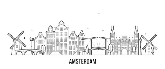 Fototapeta Amsterdam skyline Netherlands vector city building