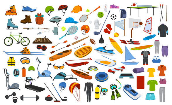 sport equipment , gear, clothes graphic set