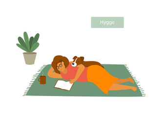 girl lying down on the floor with her pet dog, reading a book, enjoying being home, isolated cute cartoon vector illustration