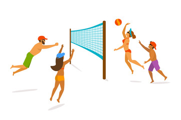 Group of people playing beach volleyball isolated graphic