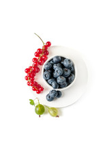 Red currant, blueberries and gooseberries on a pedestal. Isolated on a clean white background.