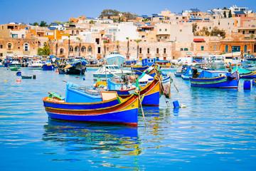 Obraz Marsaxlokk, Malta - Luzzu boats - fototapety do salonu