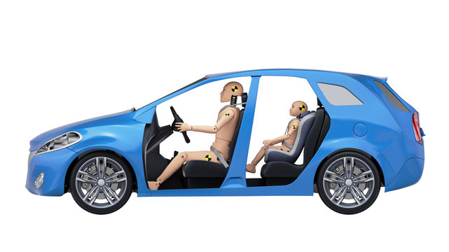 Crash Test Dummies in the Car. Side View. 3D illustration