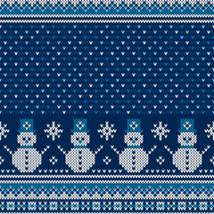 Winter Holiday Seamless Knitted Pattern with a Snowman and Snowflakes. Christmas and New Year Design Background. Wool Knit Sweater Design