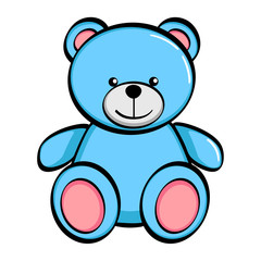 Isolated object on white background. A blue bear, a toy. Vector