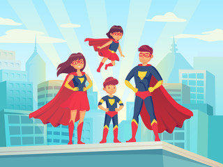 Cartoon superhero family. Mom dad and childrens in superheroes costumes. Super parents and kids heroes on cityscape vector illustration