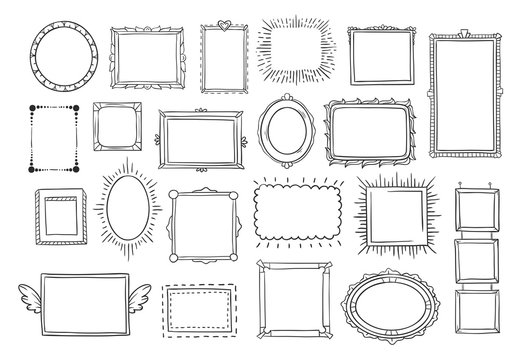 Hand drawn frames. Vintage doodle sketch picture frame. Blank black square cadre sketches painted by hands vector set