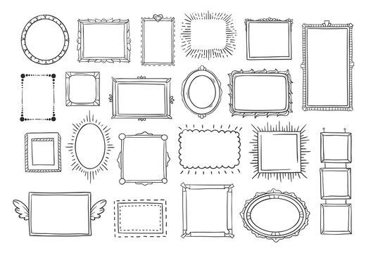 Hand drawn frames. Vintage doodle sketch picture frame. Blank black square cadre sketches painted by hands vector set