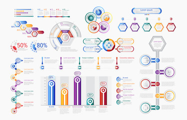 Business infographics set with different diagram vector illustration. Data visualization elements, marketing charts and graphs