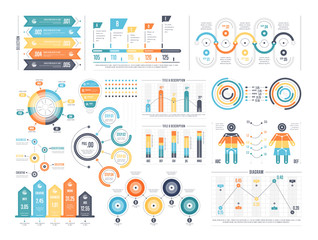 Financial and marketing statistic graphic with charts and diagrams. Business data graphs. Illustration of financial data graph, bar and pie stats.