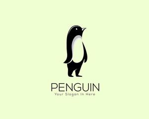 creative stand penguin logo vector design