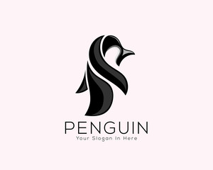 abstract fun penguin animal art logo vector