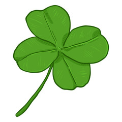 Vector Cartoon Illustration - Green Four-Leaf Clover. The Symbol of Luck.