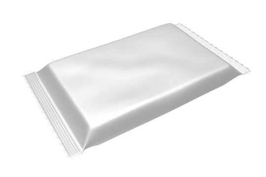 3D realistic render of Blank Template Package For Big Snack, Chocolate Or Candy. Plastic Pack. Clipping path. Isolated on white background