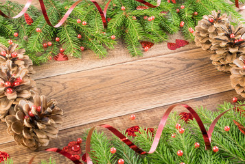 Brown Rustic Christmas Background with Fir Branches