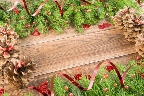 brown rustic christmas background with fir branches - Rustic Christmas Background