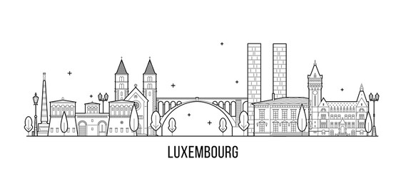 Wall Mural - Luxembourg city skyline city buildings vector