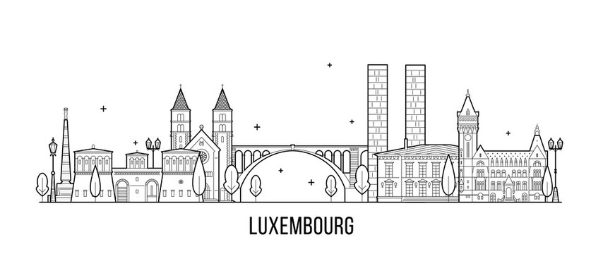 Luxembourg city skyline city buildings vector