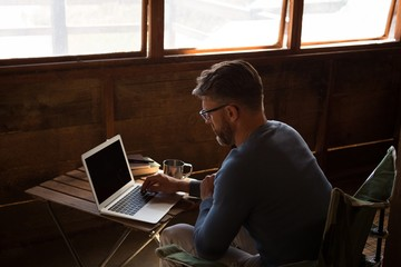 Man using laptop in log cabin