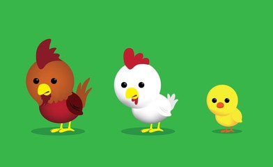 Chicken Characters Set Cartoon Vector Illustration 1