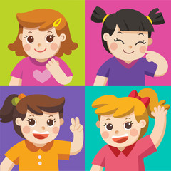 Set of Different Kids with various postures. Avatars of girls on colors background.