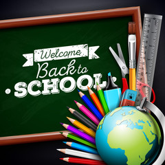 Back to school design with colorful pencil, eraser and other school items on black background. Vector illustration with globe, chalkboard and chalk lettering for greeting card, banner, flyer
