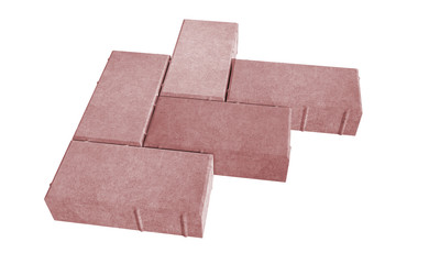 3D realistic render of six red lock paving bricks. Isolated on white