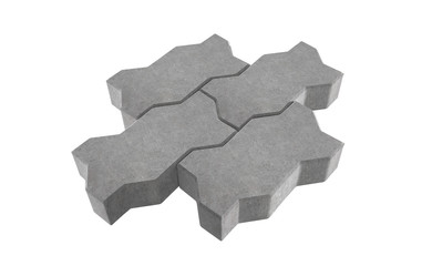 3D realistic render of three grey lock paving bricks. Isolated on white background.