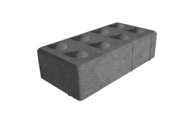 3D realistic render of black single lock paving brick. Isolated on white background.