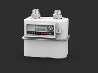 3d Illustration of gas meter, counter for distribution domestic gas