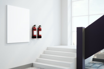 White interior with fire extinguishers
