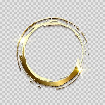 Sparkling golden ring frame made on brush stroke isolated on transparent background. Vector design element.
