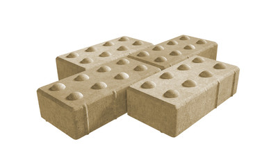 3D realistic render of three yellow lock paving bricks. Isolated on white background.