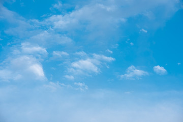 Blue sky with fluffy clouds, background image