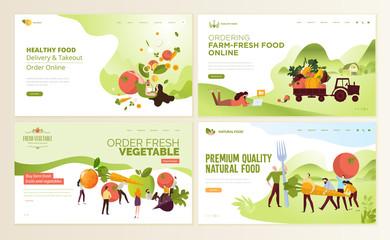 Set of web page design templates for farm fresh food, online food ordering, organic vegetable, e-commerce. Vector illustration concepts for website and mobile website development.