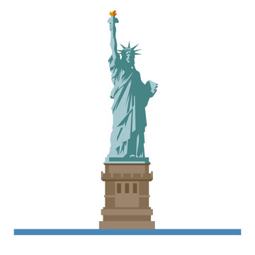 Statue of Liberty at New York flat design isolated vector icon