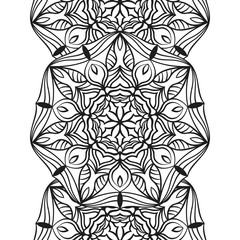 Seamless border for coloring book. Floral mandala ornament for antistress adult drawing. Suitable for laser cutting.